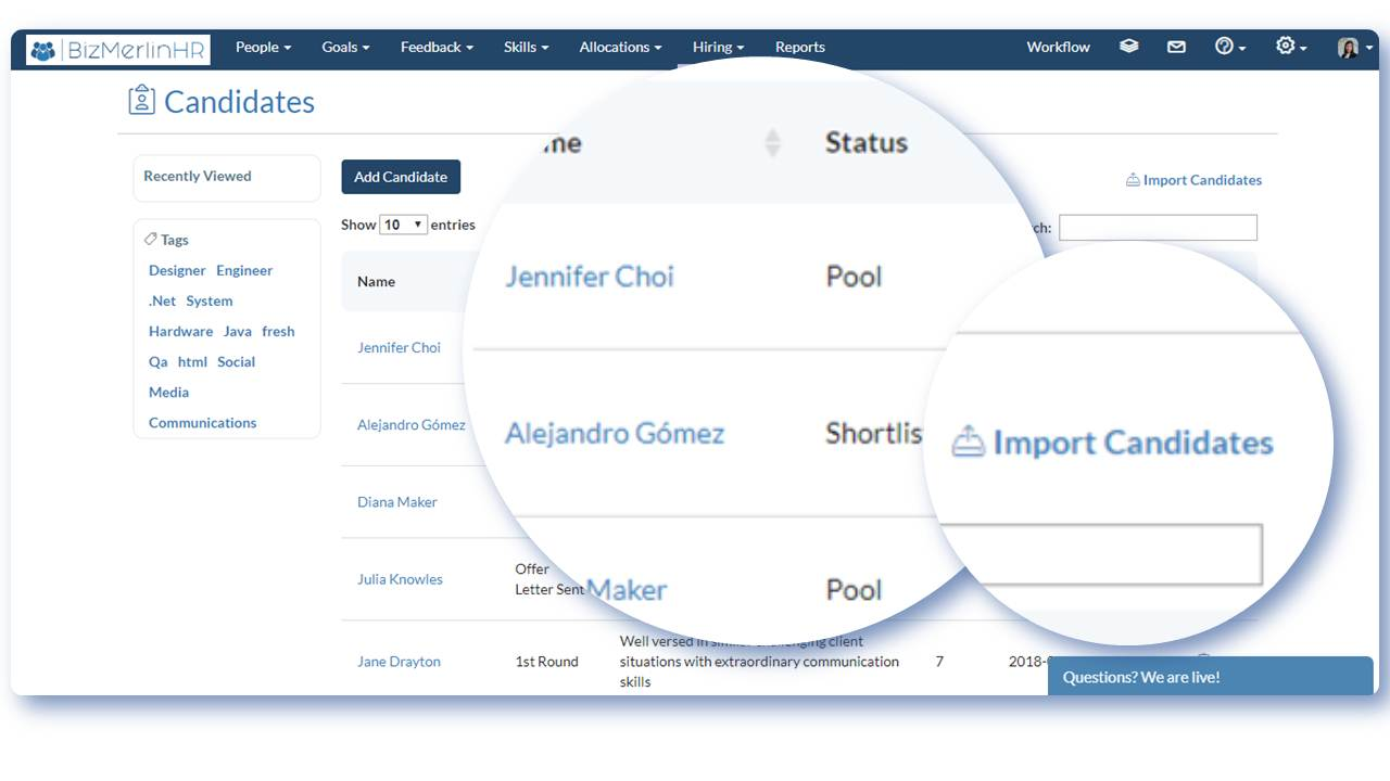 Applicant Tracking System by BizMerlinHR